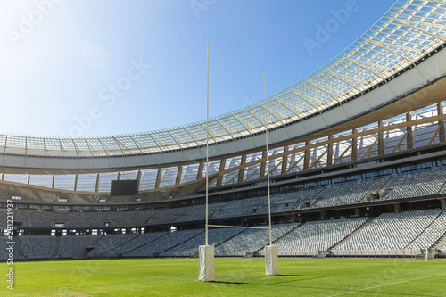 Rugby stadium on a sunny day
