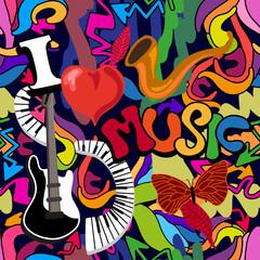Musical graffiti print.