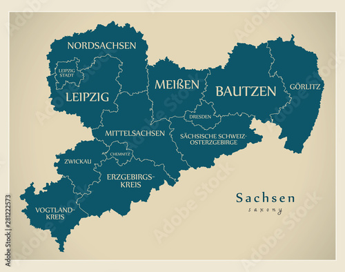 Obraz na plátně  Modern Map - Saxony map of Germany with counties and labels