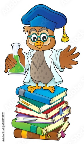 Poster de jardin Enfants Owl teacher with chemical flask theme 2