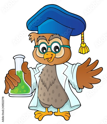 Photo sur Toile Enfants Owl teacher with chemical flask theme 1