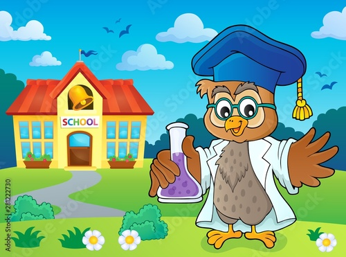 Photo sur Toile Enfants Owl teacher with chemical flask theme 4