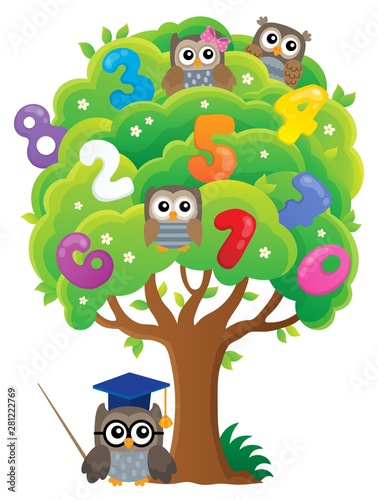 Poster de jardin Enfants Tree with owls and numbers theme 1