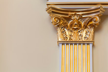 Decorative Column With Golden Portico