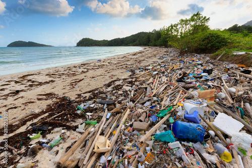 Beach plastic pollution Canvas