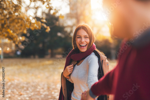 Happy smiling woman on a date