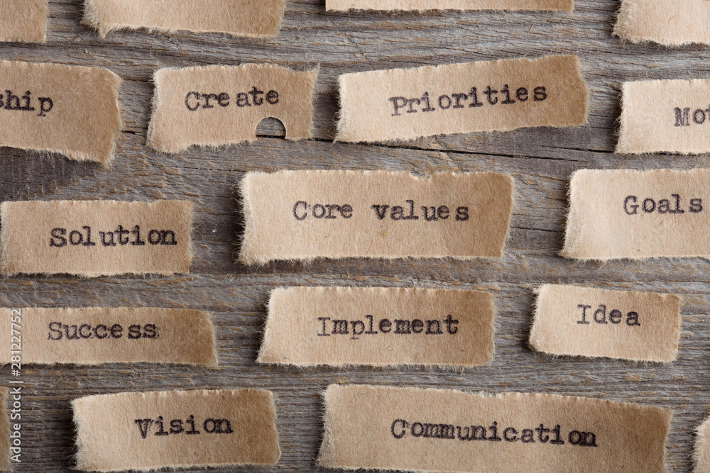 Fototapeta CORE VALUE word on a piece of paper close up, business creative motivation concept