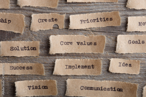 Fototapeta CORE VALUE word on a piece of paper close up, business creative motivation concept obraz