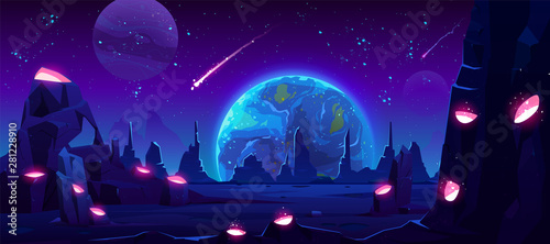 Fotografia, Obraz Earth view at night from alien planet, neon space background with falling meteor