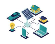 Solar Panel Energy Isometric Illustration, Renewable Energy Using Solar Panel To Save The World Isometric Vector Illustration