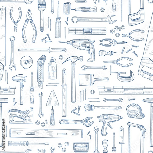 Leinwand Poster Monochrome seamless pattern with manual and powered household tools for woodworking