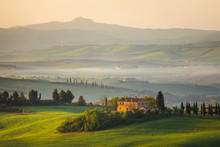 Fantastic Sunny Spring Field In Italy, Tuscany Landscape Morning Foggy Famous Cypress Trees