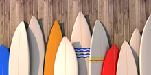 Many Different Colored Surfboards Standing In A Row On A Wooden Wall -3d Illustration