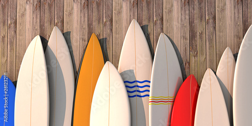 Many different colored surfboards standing in a row on a wooden wall -3d illustr Fotobehang