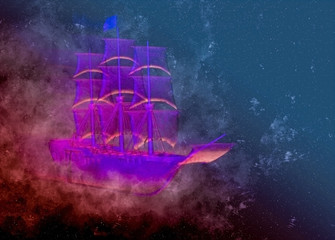 Flying ghost purple galleon...