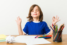 Little Boy Painting And Doing Homeworks On His Desk Relaxes After Hard Working Day, She Is Performing Yoga.