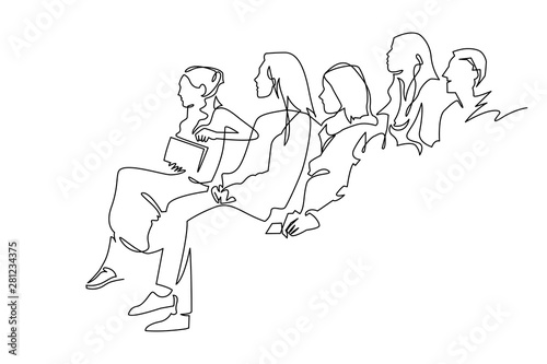Foto Continuous Line Drawing of Vector illustration character of audience in the conf