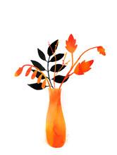 Autumn Leaves In Orange Vase. Watercolor Minimlistic Illustration For Fall Designs.