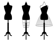 Vector Set Of Isolated Female Mannequins In Black Color On White Background.