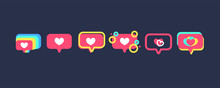 Set Of Like Heart Icons On A R...