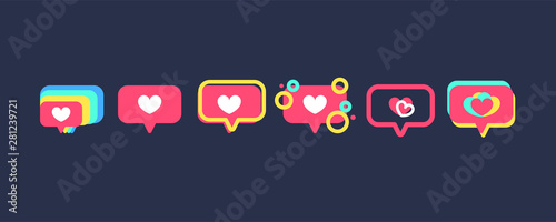 Obraz Set of Like heart icons on a red pin. Notifications icon Like, speech bubble. Set for social network. - fototapety do salonu