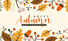 Autumn Background Illustration Vector. Flat Background Of Autumn