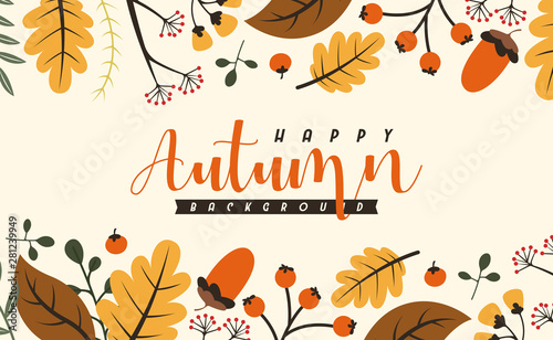 Obraz Autumn background illustration vector. Flat background of autumn - fototapety do salonu