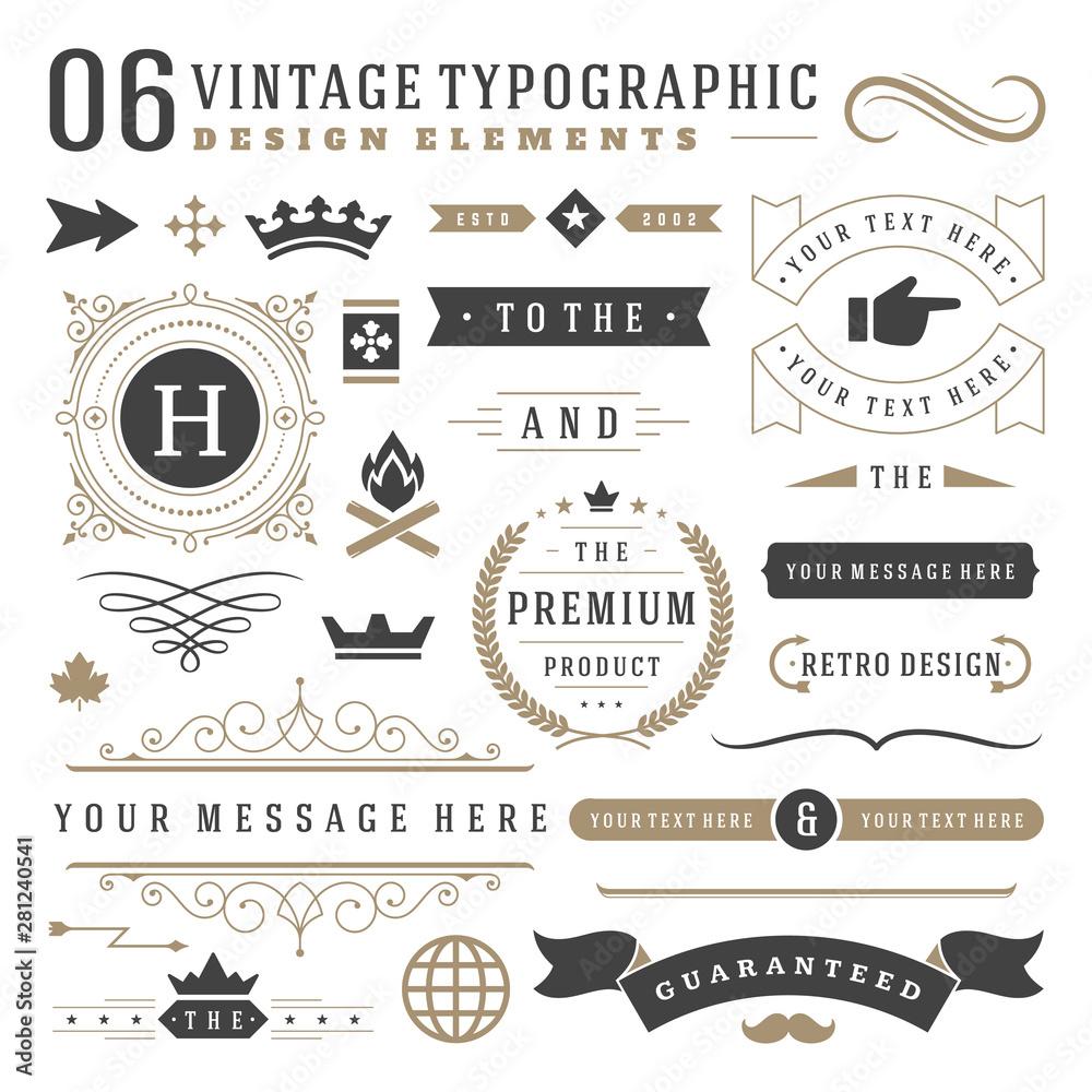 Fototapety, obrazy: Vintage typographic design elements set vector illustration.