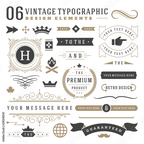 Fototapeta Vintage typographic design elements set vector illustration. obraz na płótnie