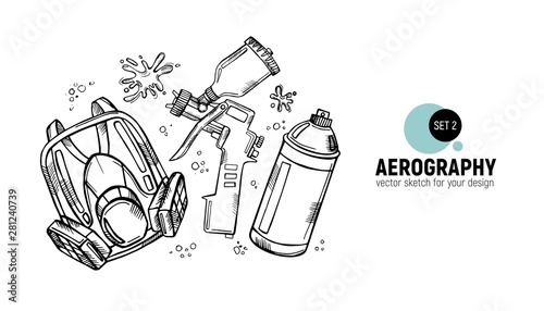 Photo Hand drawn vector illustration of aerography tools