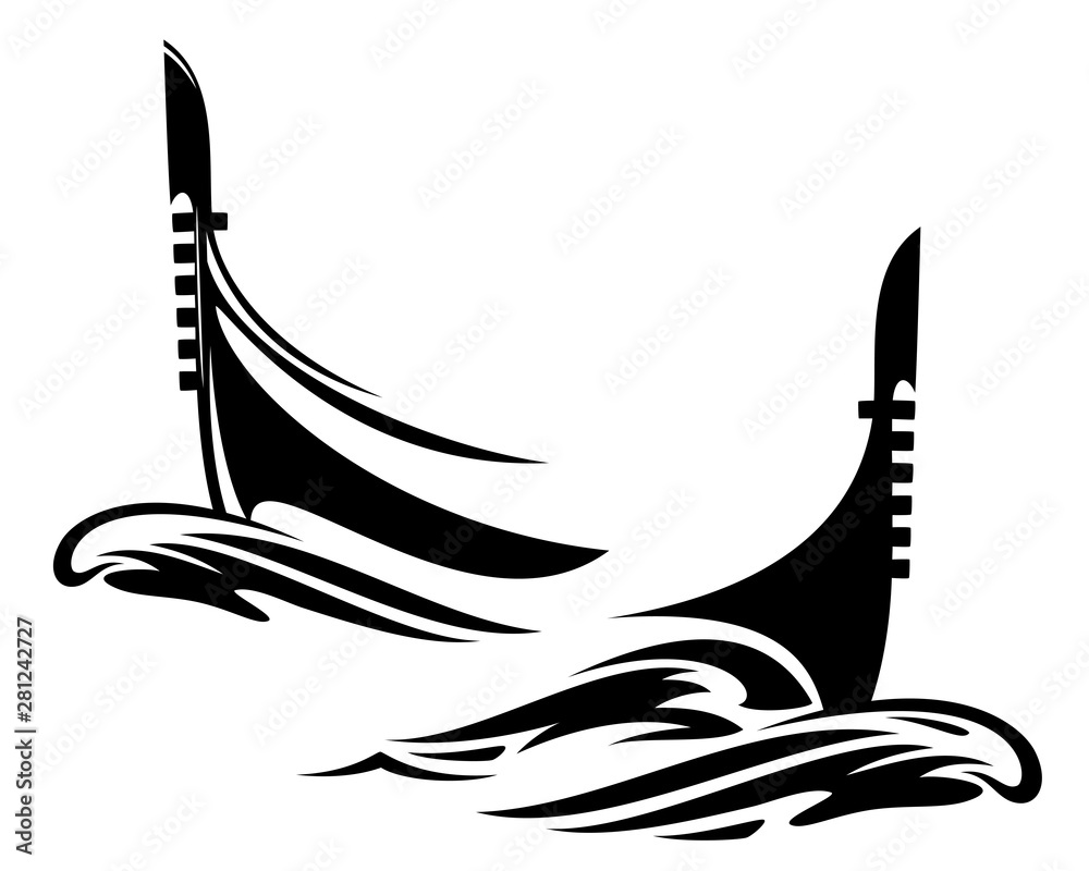 Fototapety, obrazy: venetian gondola boat and sea waves - traditional italian vessel black and white vector design