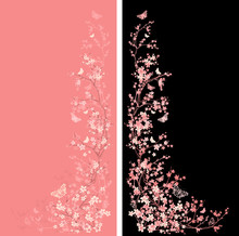 Blooming Cherry Tree Branches And Flying Butterflies - Japanese Springtime Seasonal Blossom Vector Design Set