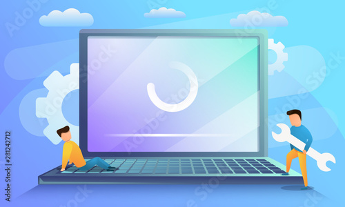 Fototapeta Laptop system update concept banner. Cartoon illustration of laptop system update vector concept banner for web design obraz
