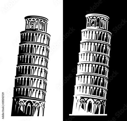 Fotomural leaning tower of pisa black and white vector silhouette design set - italian lan