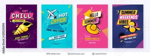 Fototapeta Set of summer season ad posters in pop-art style. obraz