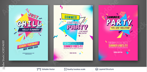 Photo Set of summer season ad posters in pop-art style.