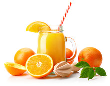 Fresh Orange Juice With Fruit And Green Leaves In Glass Can Straw Wooden Juicer Stick, Isolated On White Background Clipping Path Included.