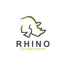 Rhino Logo Template, Animal Design Vector, Zoo