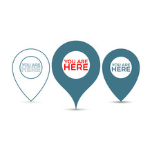 You Are Here. Thin Out Line Pin Location Gps Icon. Geometric Red Marker Flat Shape Element. Abstract EPS 10 Point Illustration. Concept Vector Sign.