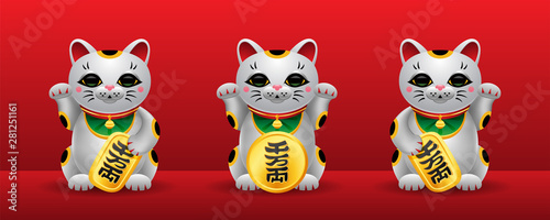 Photographie  Three various Maneki Neko japan lucky cats