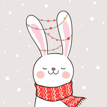 Draw Rabbit With In Snow For Christmas And New Year.