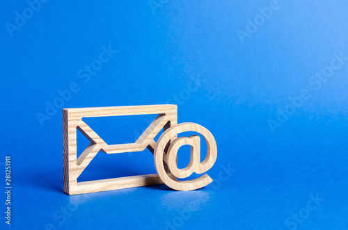Cuadros en Lienzo Envelope and email symbol on a blue background