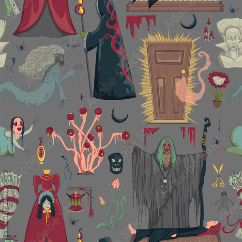 Seamless pattern with creepy characters and decorations Wallpaper Mural