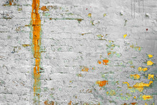 Brick Wall Texture. Old White Shabby Brick Wall Horizontal Background. Red White Brickwall Backdrop. White Red Stonewall Surface. Vintage Plastered Wall. Retro Red Brick Wall With White Uneven Stucco.