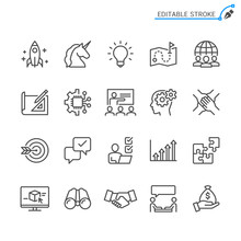 Startup Line Icons. Editable S...
