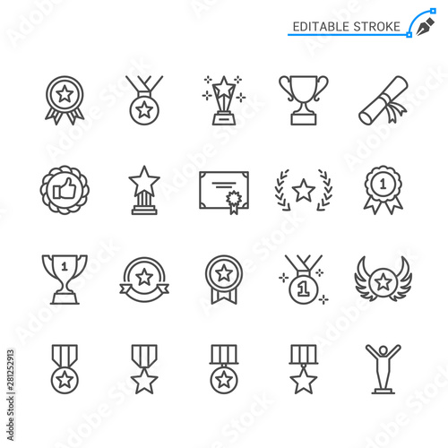 Fotomural  Awards line icons. Editable stroke. Pixel perfect.