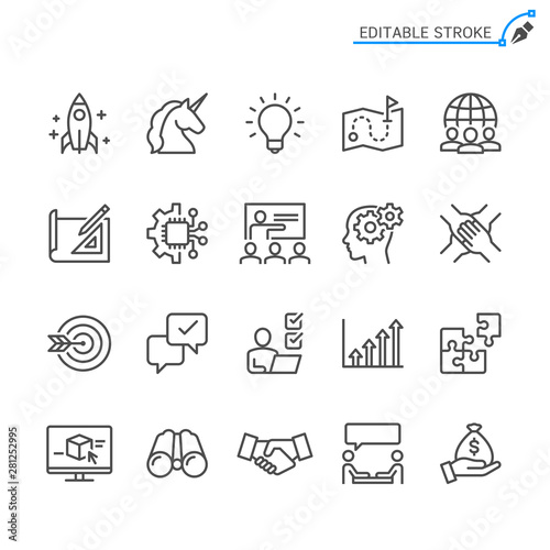 Startup line icons. Editable stroke. Pixel perfect.