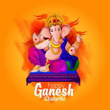 Ganpati Lord Festival Banner Illustration