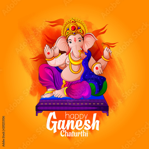Canvas Print Ganpati lord festival Banner illustration