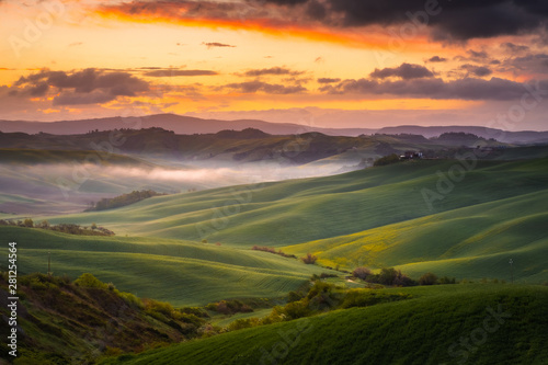 Garden Poster Light pink Impressive autumn landscape,view with cypresses Tuscany,Italy